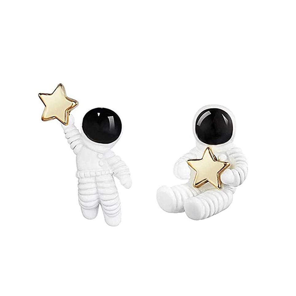 存在ペネロペ実行する18K 18金 キュートだ 宇宙飛行士 ゴールド かけら イヤリング レディース コスモナウト あしんめとり ホワイト ピアス