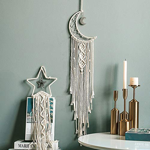 2Pcs Moon Star Dream Catcher,Macrame Woven Wall Hanging Pediments with Long Tassel,White Cotton Cord Handmade Bohemian Home Decor Ornament Decoration Art Craft Gift for Kids Bedroom Dorm Room