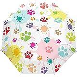 La Pata de Perro Colorida Linda Imprime Paraguas Abiertos automáticos cercanos Anti Paraguas Plegable Plegable Ultravioleta