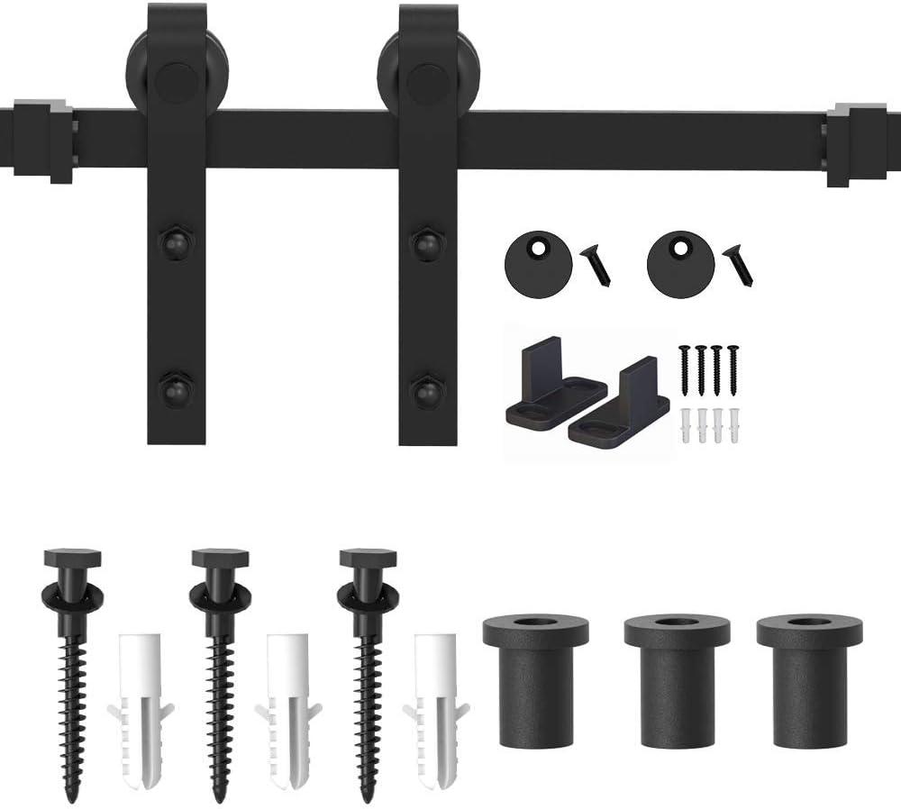 4-18FT for Choose WINSOON 12FT Antique Double Sliding Barn Door Hardware Roller Track Kit Black