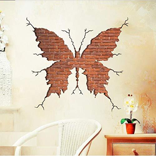 artaslf Pinturas adhesivas de pared con grieta de mariposa 3D para sala de estar, dormitorio, sofá, TV, papel tapiz de fondo, impresiones modernas, arte de pared 54 * 58 CM