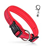 MASBRILL Reflective Dog Collar, Adjustable Nylon Dog Collar with Soft Neoprene Padded, Breathable Pet Collar for Puppy Small Medium Large Dogs, Red, M
