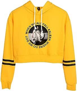 Flyself Girls Billie Eilish Crop Top Hoodie Kawaii Long Sleeve Hooded Short Sweatshirts Jumper Tops for Men Women Teen