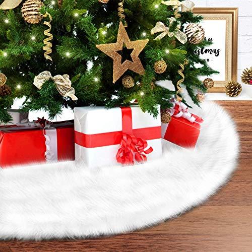 Ohuhu Christmas Tree Skirt, 35.4' Fur Tree Skirt, Faux Fur Xmas Tree Skirt, Snow White Plush Tree Skirt, Handmade for Christmas Home Holiday Party Decoration