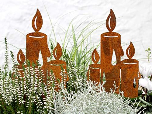 LB H&F Lilienburg Weihnachtsdeko Roststecker Rost Metall Garten (Kerze Maxi Set)
