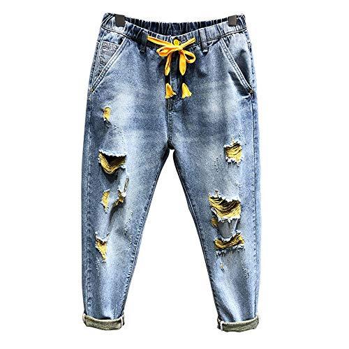 ShFhhwrl Vaqueros de Moda clásica Pantalones Vaqueros Rasgados para Hombre Azul Claro 100% Algodón Agujero Roto Desgastado Street
