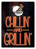 Chillin And Grillin ティンサイン ポスター ン サイン プレート ブリキ看板 ホーム バーために