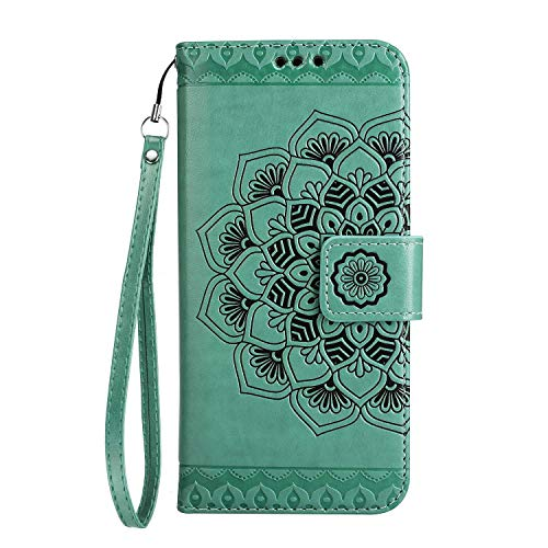 Sony Xperia Z5 Hülle, SONWO Mandala Blumen Muster PU Leder Wallet Schutzhülle mit Karte Schlitz und Magnetic Closure für Sony Xperia Z5, Grün
