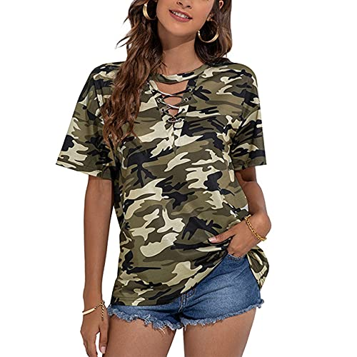 Jersey Informal De Primavera Y Verano para Mujer, Camiseta Holgada De Manga Corta con Estampado De Camuflaje con Cuello En V Y Estampado De Camuflaje para Mujer