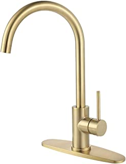 Kitchen Faucet, AmirL Modern Touchless Bar Sink Single Hole Prep Faucets with Hole Cover Deck Plate Lead Free Brushed Gold