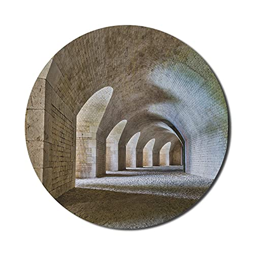 Alfombrilla de ratón para ordenador medieval, interior del túnel del castillo con arcos en un diseño histórico de la fortaleza de bastión, alfombrilla de ratón rectangular de goma antideslizante grand