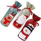 Cabilock 3 Unids Navidad Botella de Vino Cubre Bolsa de Dibujos Animados Santa Ciervos Muñeco de Nieve Patrón Lino Botella de Vino Bolsa para La Cena Decoración