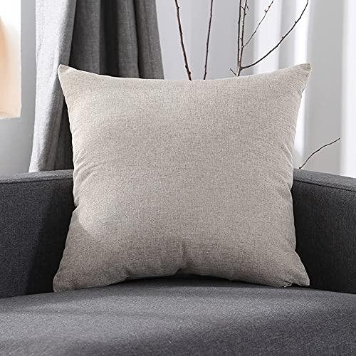 Juego de 4 fundas de cojín de 45 x 45 cm, de lino suave, con cierre invisible, para dormitorio, salón, color beige y gris