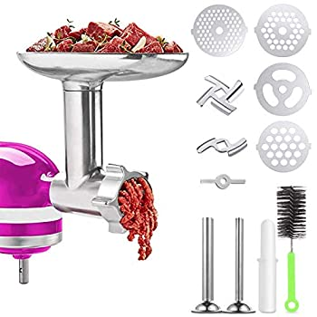 Meat Grinder Attachments for KitchenAid Stand Mixer Home Use Metal Food Grinder Accessories,Meat Mixer Attachment with 2 Sausage Stuffer Tubes