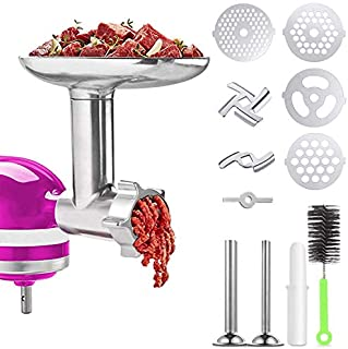 Meat Grinder Attachments for KitchenAid Stand Mixer, Home Use Metal Food Grinder Accessories,Meat Mixer Attachment, with 2 Sausage Stuffer Tubes
