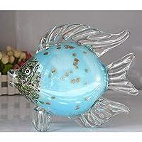彫刻1個クリスタル金魚ミニチュア置物手作り動物クリスタルクラフトガラス家の装飾ギフト水槽装飾サイズ:17 * 20cm