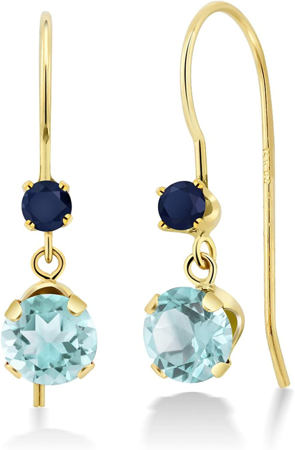 1.56 Ct Round Sky bluee Topaz bluee Sapphire 14K Yellow gold Earrings