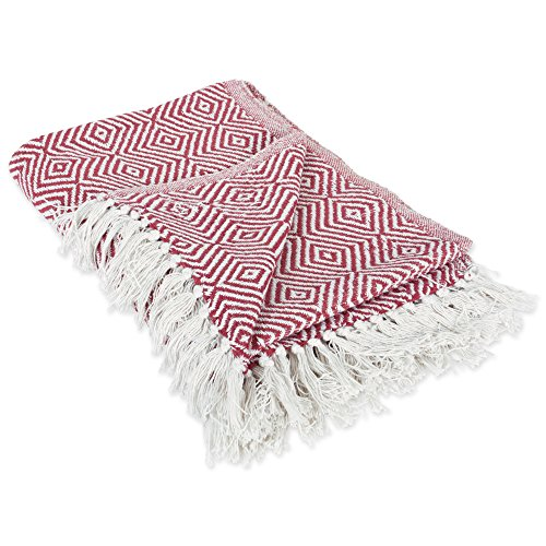 DII 100% Cotton Geometric Daimond Throw for Indoor/Outdoor Use Camping BBQs Beaches Everyday Blanket, 50 x 60, Barn Red