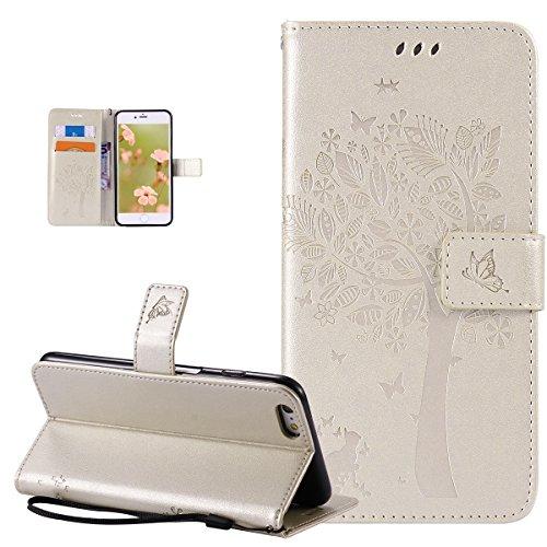 Coque iPhone 6S Plus,Coque iPhone 6 Plus,Gaufrage Embosser Chat papillon Fleur Floral arbre Housse en Cuir PU Etui Housse en Cuir Portefeuille Flip Case Etui Coque pour iPhone 6S Plus/6 Plus,Or