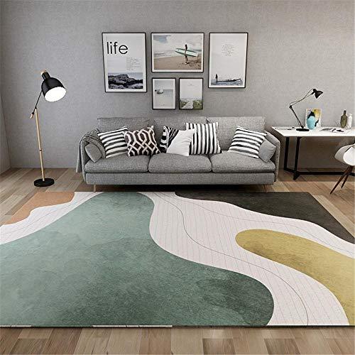 La Alfombra Alfombra Salon Alfombra Suave con diseño geométrico Gris marrón Amarillo fácil de Limpiar alfombras Pasillo Decoracion para habitacion 60*90CM