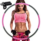 ZALALAS Hula Hoop for Adults,Lose Weight Fast by Fun Way to Workout,Easy to Spin, Premium Quality and Soft Padding Hula Hoop,with Free Accessory Skipping Rope(Pink)