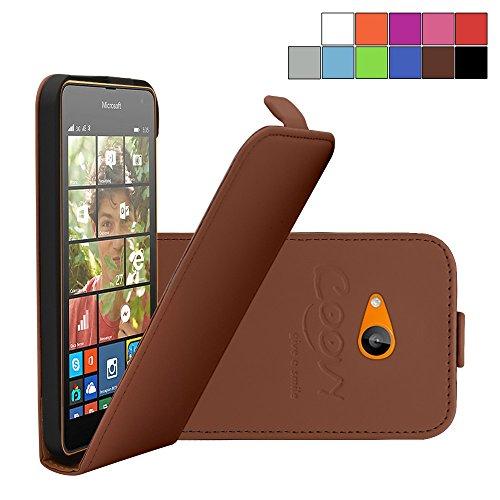 COOVY® Étui pour Nokia Lumia 630/635 Slim Flip Coque Housse Étui de Protection Fin à clapet avec écran de Protection | Couleur Marron