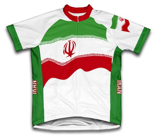 ScudoPro Iran Flag Short Sleeve Cycling Jersey for Men - Size L White