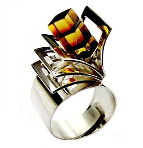 Bernstein Sterling Silber Designer Kitch Ring Größe 64.5 (20.6)