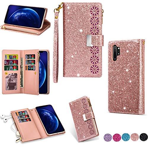 Hancda - Funda de piel con tapa para Samsung Galaxy Note 10 (con tarjetero, cierre magnético), color rosa dorado
