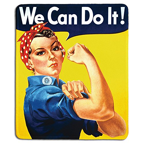 dealzEpic - Art Mousepad - Natural Rubber Mouse Pad with Famous Classic Vintage Poster Rosie The Riveter We Can Do It - Stitched Edges - 9.5x7.9 inches