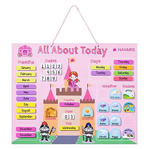 Navaris Calendario de aprendizaje para niños - Tablero educativo Montessori en inglés - Pizarra para aprender días de la semana clima con 43 imanes