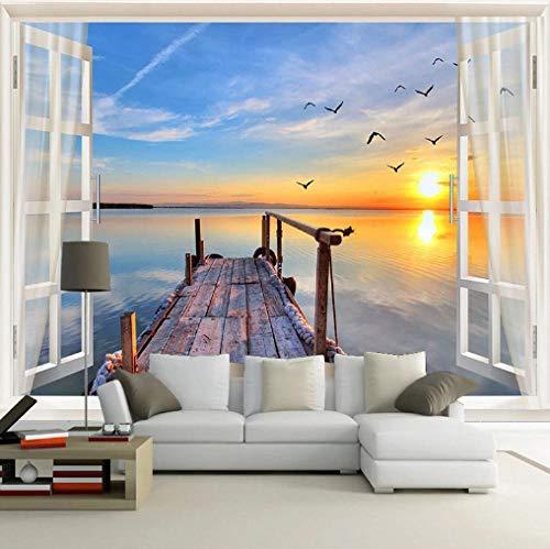 Tapeten Wandbild Hintergrundbild Fototapetebenutzerdefinierte 3D-Fototapete Fenster Meerblick Natur Landschaft Wandbild Wohnzimmer Sofa Tv Hintergrund Tapeten Home Decor Modern-About200 * 140Cm