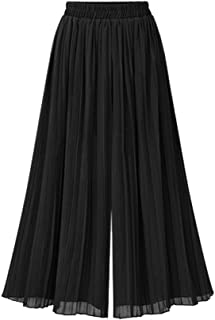 Fankle Women's Summer Chiffon Wide Leg Pants Elasticated High Waist Flare Flowy Cropped Trousers Casual Loose Comfortable Breathable Culottes