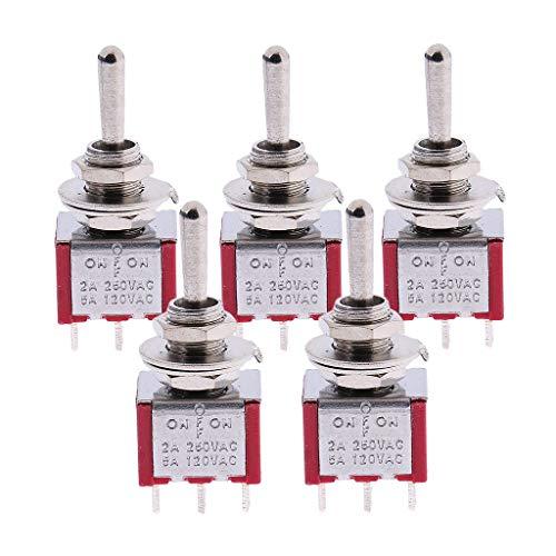 Selector de pastilla de interruptor de palanca de 5x 3 vías para guitarra y bajo ON/OFF/ON 6pin DPDT