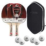 Sunflex Lot de 2 raquettes de tennis de table Boost + housse de tennis de table + 2 balles ITTF SX + balles de tennis de table