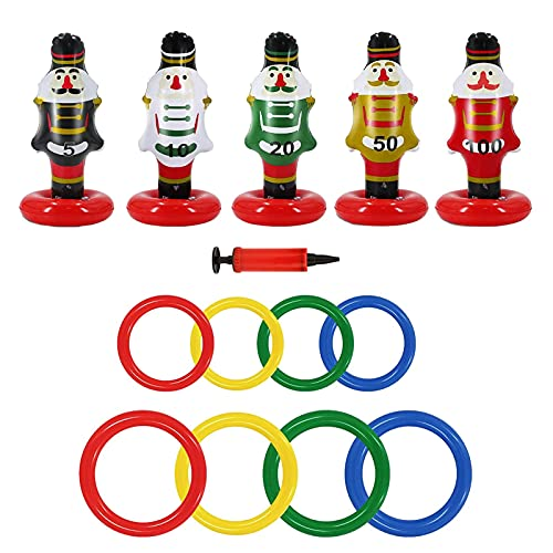 5PCS Inflatable Nutcrackers Ring Toss Game Toy, Durable Inflatable Ring Toss Kids Family Christmas Party Supplies Decoration Indoor Outdoor Games for Kids Adults