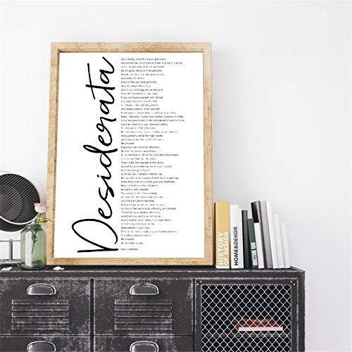Danjiao Desiderata Prints Max Ehrmann Gedicht Kunst Leinwand Gemälde Inspirierende Worte Literatur Wandkunst Bild Poster Home Wall Decor Wohnzimmer 40x60cm