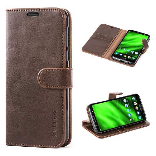 Mulbess Handyhülle für Moto G6 Plus Hülle, Leder Flip Case Schutzhülle für Motorola Moto G6 Plus Tasche, Vintage Braun