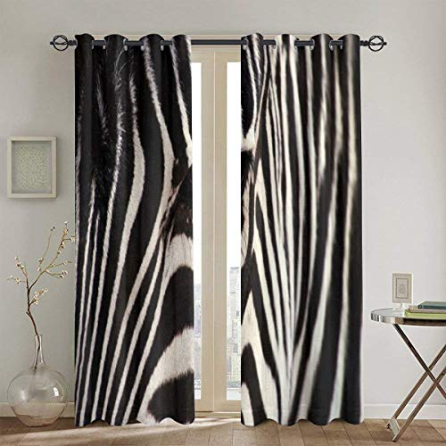 Qing_II Zebra Gardinen Blickdicht Verdunkelung Gardine Wohnzimmer Vorhang Verdunkelung 132x182 cm 2er Set