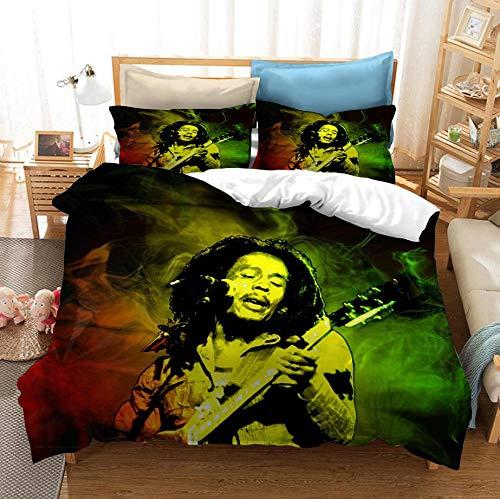 GSYHZL Bob Marley Copripiumino Stampato in 3D Copripiumini, Set Biancheria da Letto, Adatto per Letto Singolo Super Queen Size - 200x200cm (3 Pezzi) _5