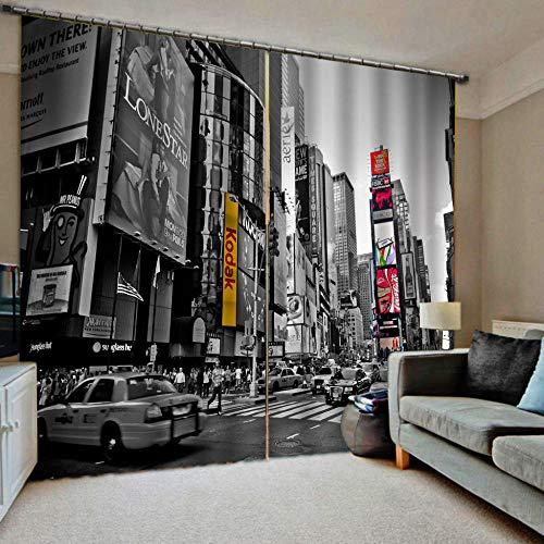HomeAZWQ Cortinas Termicas Aislantes Frio Calor Reducción Ruido Protección Intimidad Times Square H245 X W280Cm