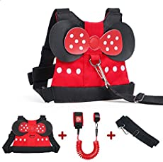 Lehoo Castle Toddler Leashes for Walking, 2 in 1 Kids Safety Harness + Anti Lost Wrist Link, Baby Leash Harness for Walking Girls (Minnie)