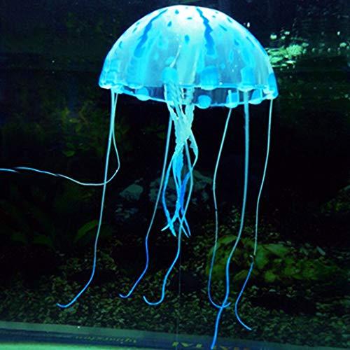 Aquarium Dekoration leuchtende Quallen Ornament Künstliche Quallen, 1 Stück Leuchtende Quallen als Dekoration Glühende Deko aus Silikon für Aquarium Fisch Tank Ornament (blau)