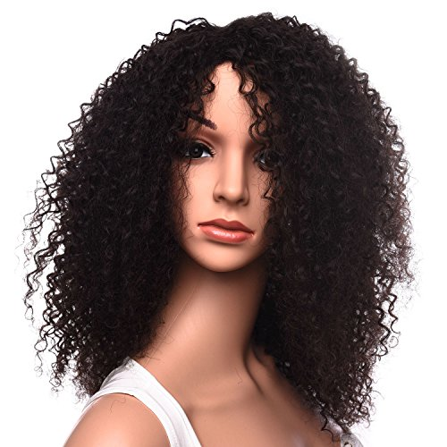 Silike Afro Kinky Curly Wig Kanenkalon Fiber Jerry Curl Wigs For Black Women African American Female Wig Heat Resistant Fiber (Long, 4)