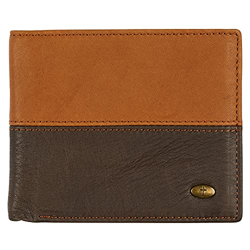 Genuine Leather Wallet for Men   Two-Tone w/Cross Emblem   Quality Classic...