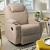 Tuoze Fabric Massage Recliner Chair Ergonomic 360 Degree Swivel Single Sofa with 2 Cup Holders Living Room with Heated Function Chair (Beige)