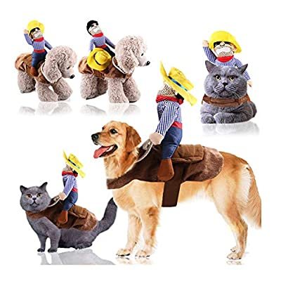 CHEFDEER Pet Cowboy Costume Funny Knight Riding Clothes Medium and Large Dogs Horse Riding Costume Halloween Daily Clothing Supplies (House Riding, X-Large)
