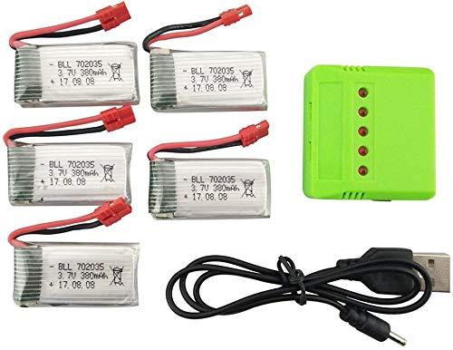 Fytoo 5stuks 3.7V 380mAh Lipo-batterij en 5 in 1 oplader voor SYMA X5A-1 SYMA X15 X15C X15W RC Quacopter Drone Syma X15W Lipo-batterij Onderdelen
