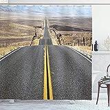 Sosun Cortina de Ducha de Paisaje, Pacific Coast Highway en el Camino Viaje al Desierto sin Fin Fotografía Occidental Desierto, Tela de Tela Decoración de baño con Ganchos, Gris Amarillo