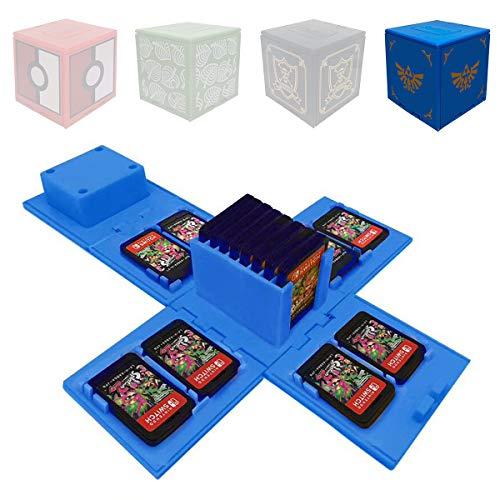 Funda de Juego - Compatible para Nintendo Switch Compatible con hasta 24 Juegos de Nintendo Switch Organizador de Tarjeta de Juego Contenedor de Viaje (Zelda Azul)